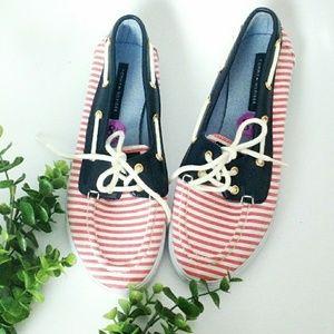 Tommy Hilfiger Striped Patriotic Loafer Boat Shoes